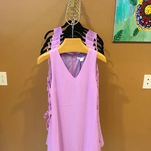 Lavender Side Tie Mini Dress